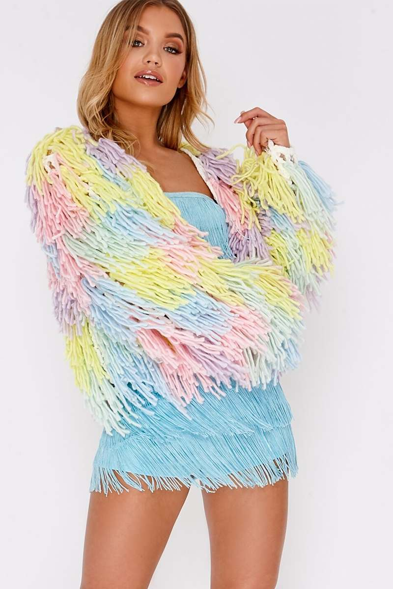 multi pastel shaggy knit cropped cardigan