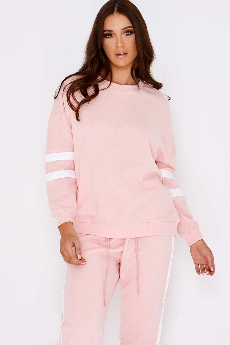 baby pink sports stripe sweater