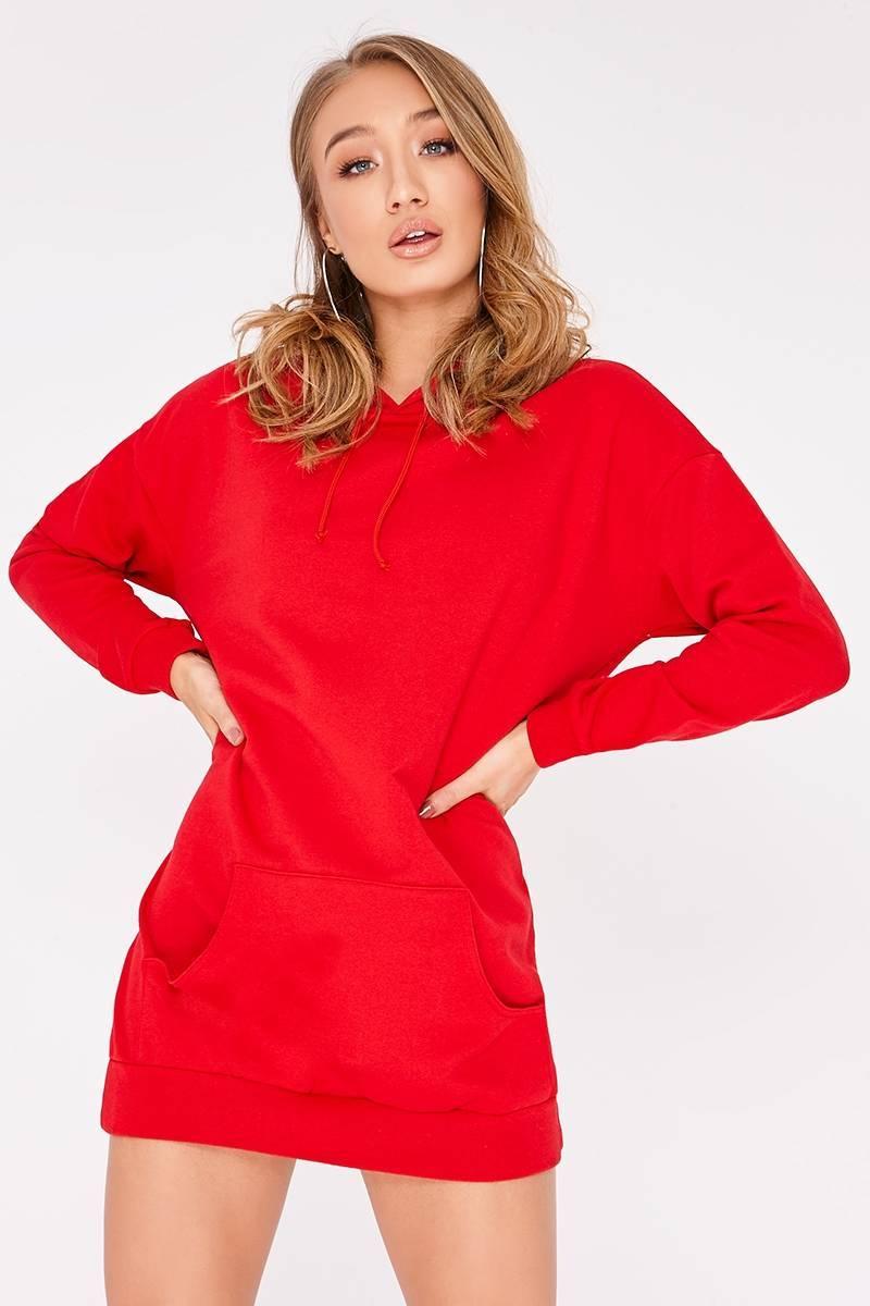 HANNIA RED OVERSIZED HOODIE DRESS