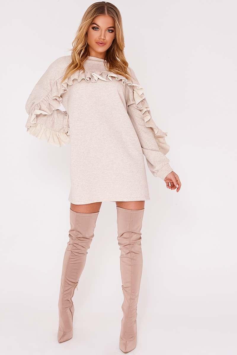 HAIZEL BEIGE FRILL DETAIL JUMPER DRESS