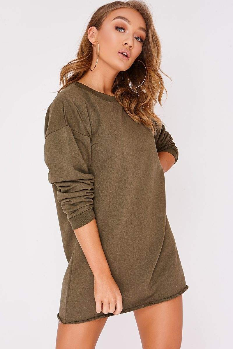 LOUNA KHAKI OVERSIZED SWEATER DRESS