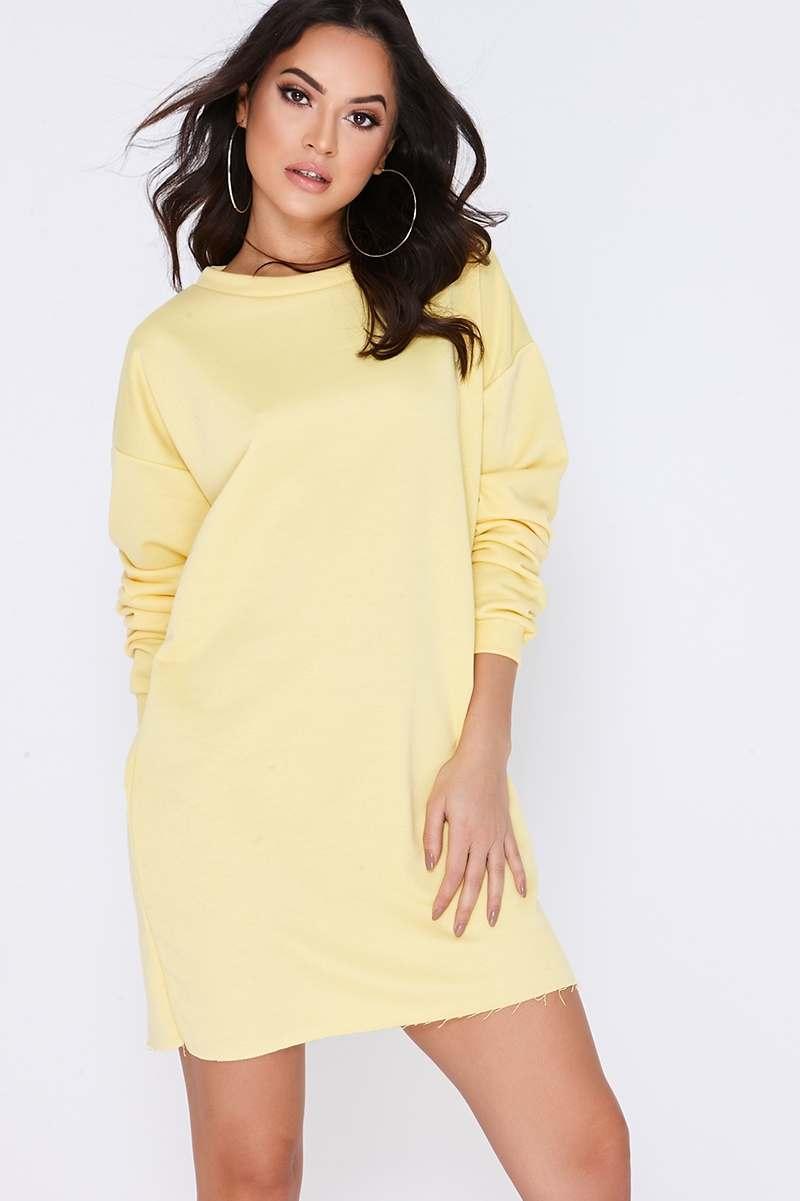 yellow oversized sweater dress