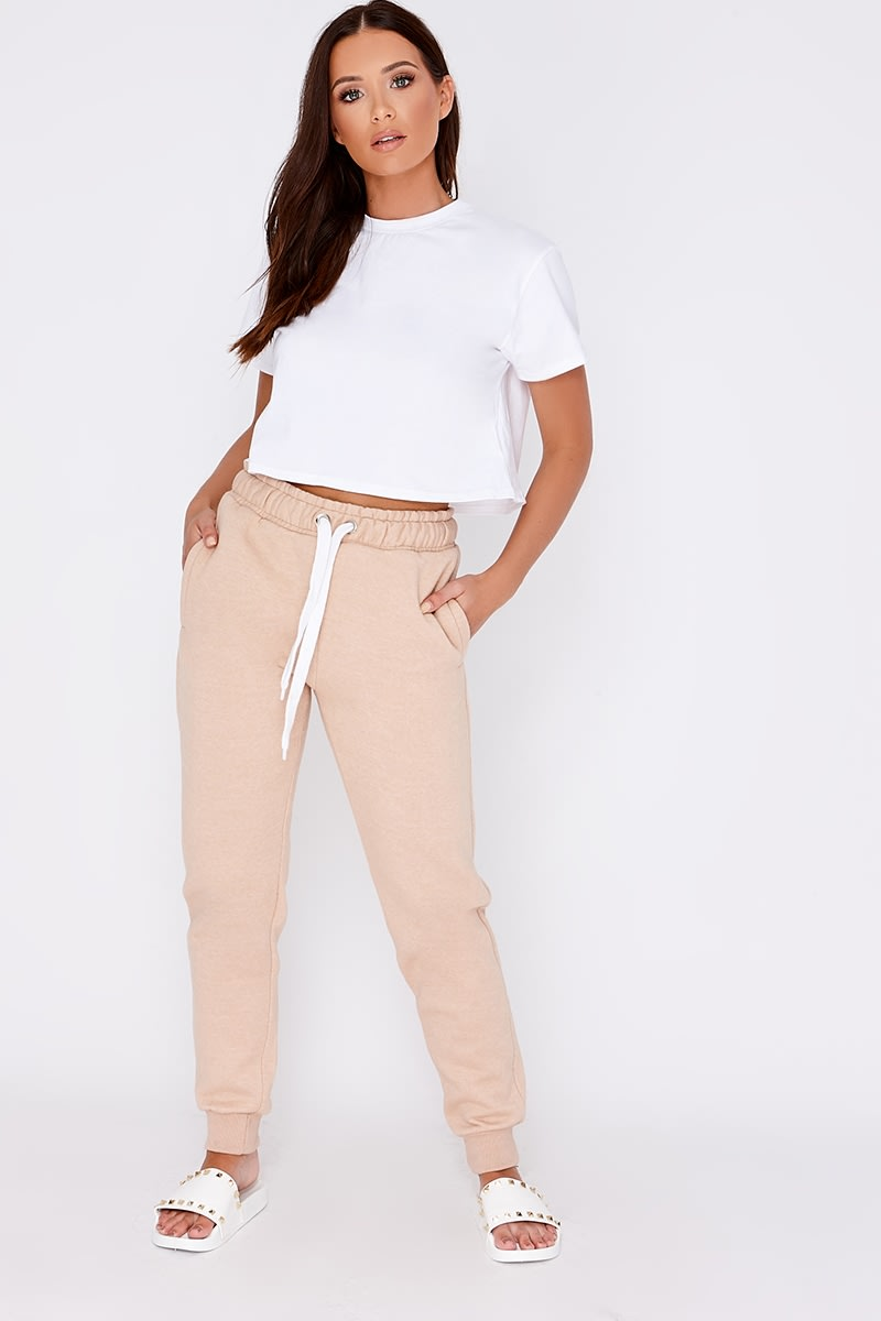 nude high waisted drawstring joggers