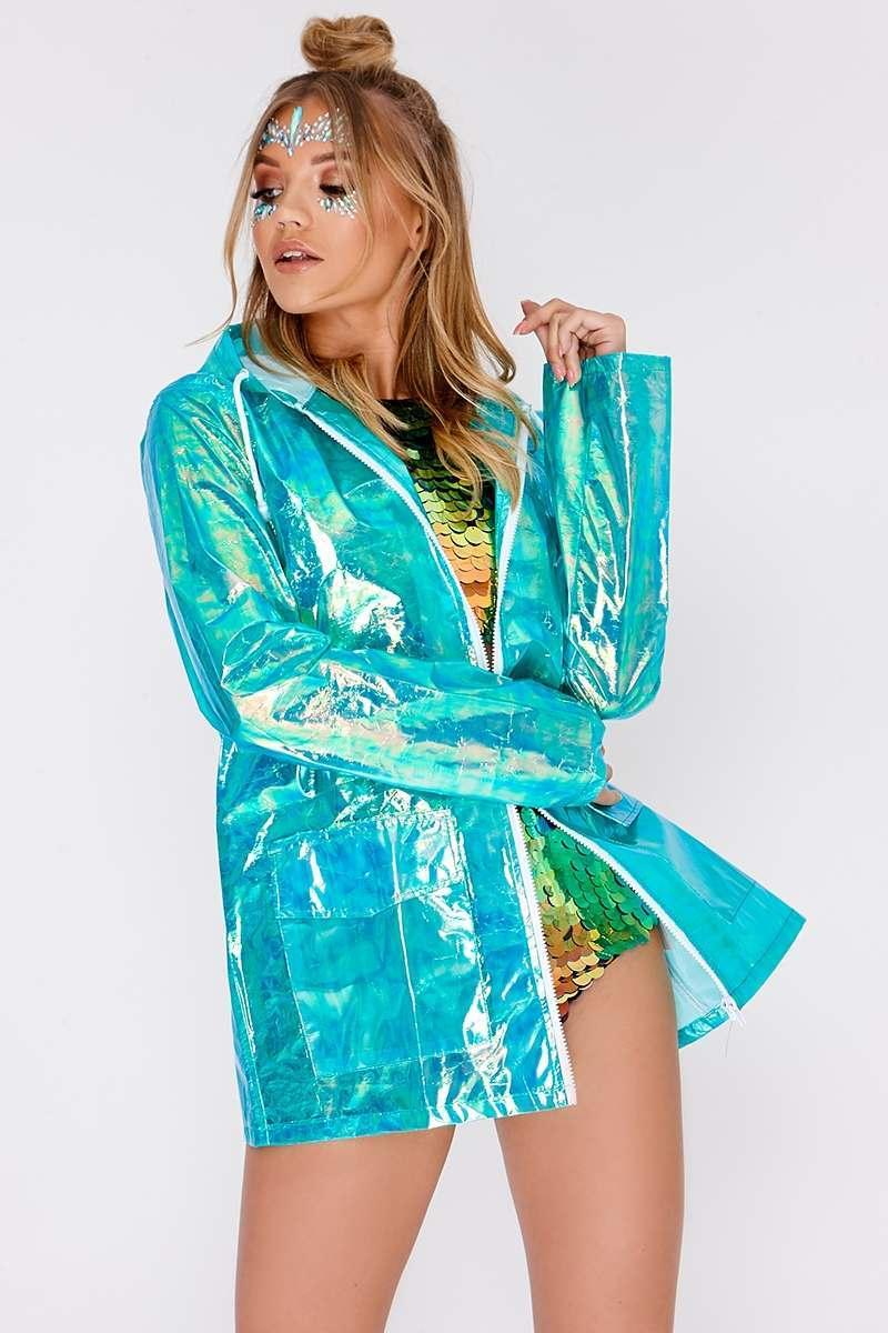 green holographic rain mac