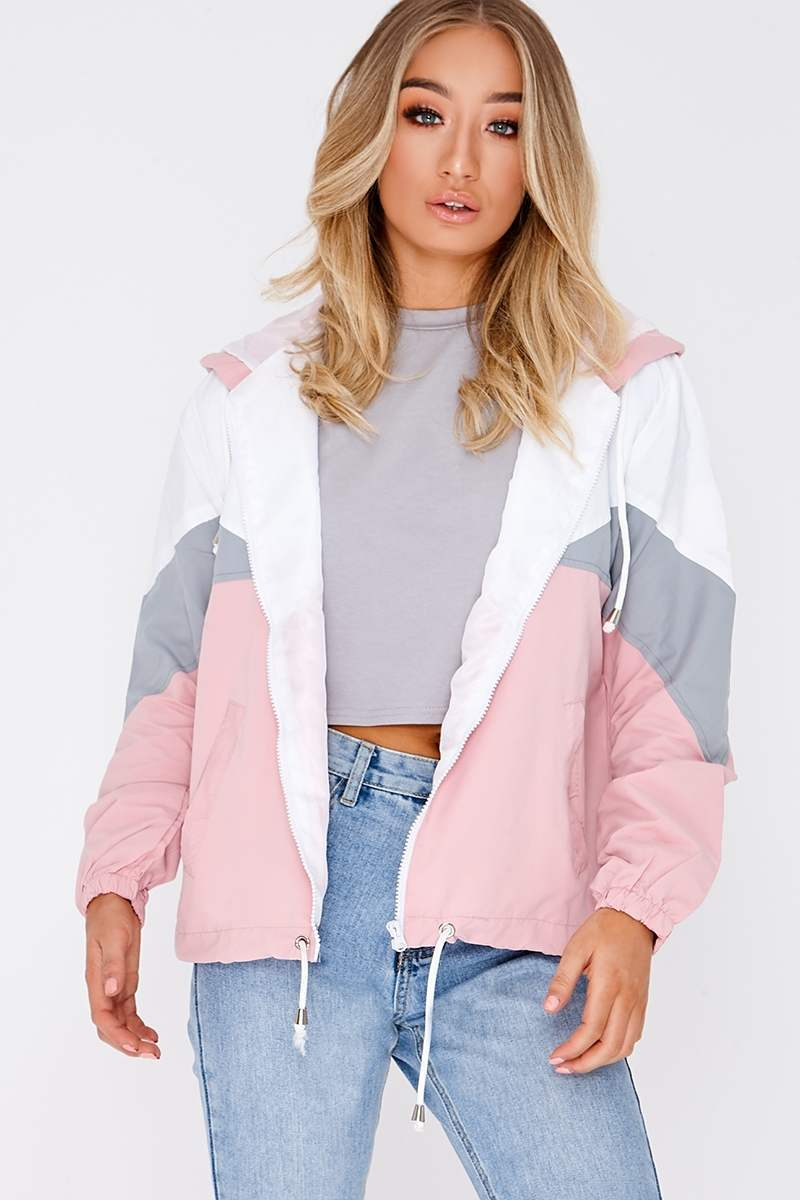 pink colour block windbreaker