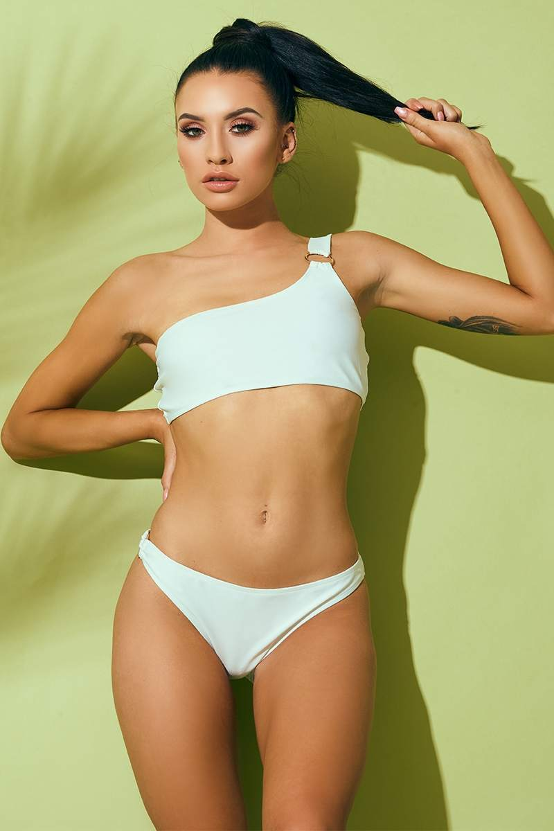 white ring detail bikini top