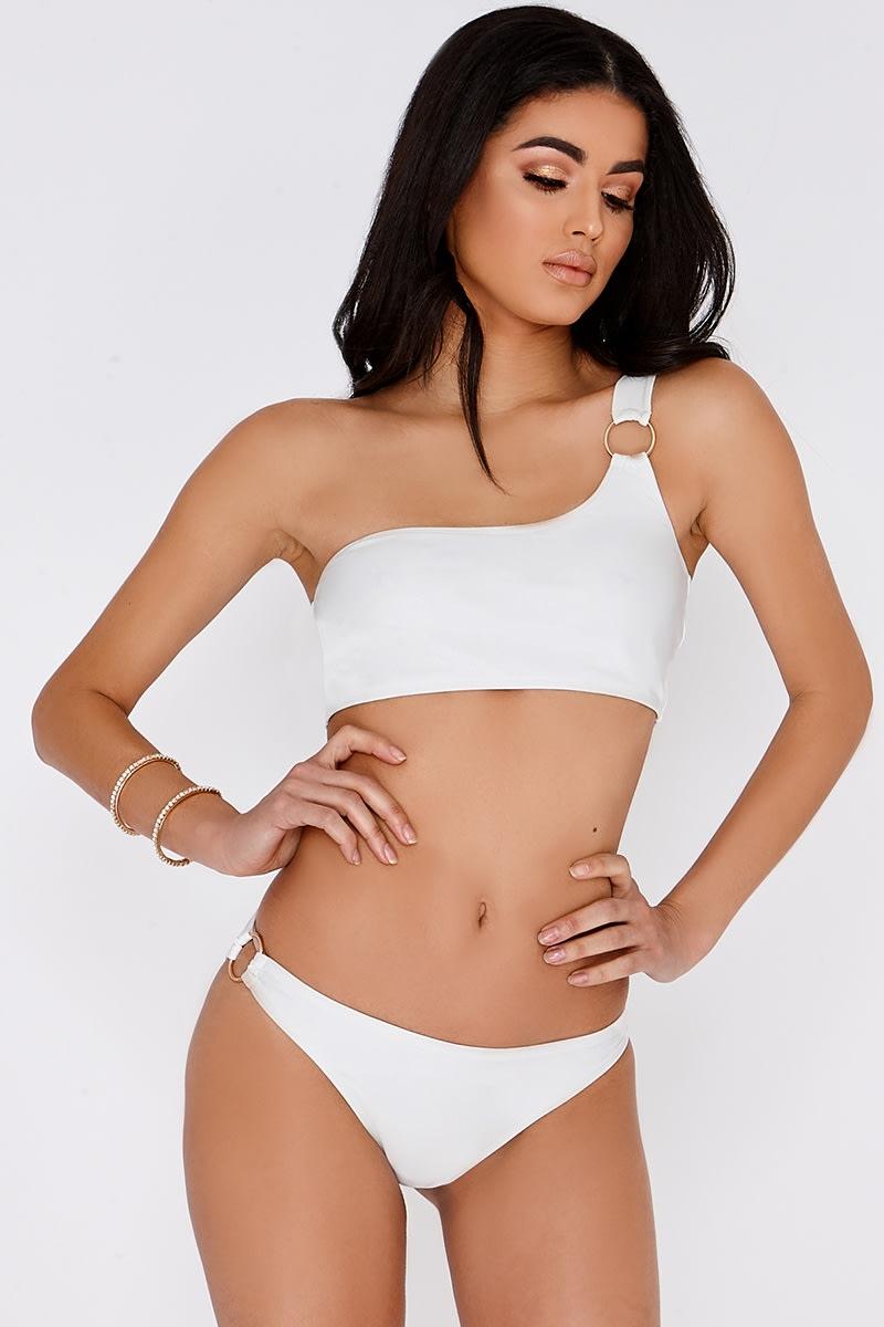 white ring detail bikini bottoms