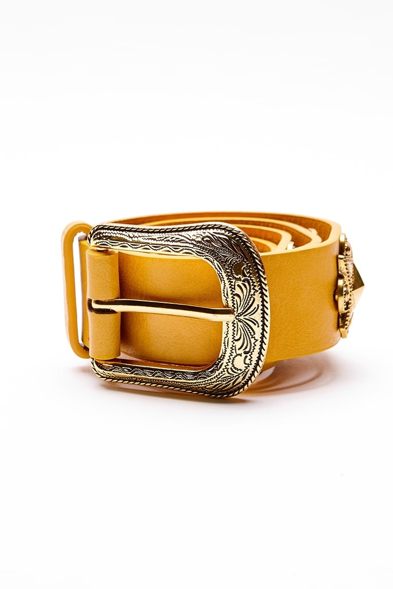 MUSTARD GOLD DETAIL SINGLE BUCKLE WESTERN BELT