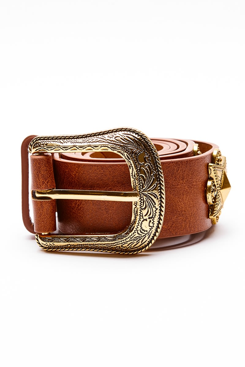 TAN GOLD DETAIL SINGLE BUCKLE WESTERN BELT