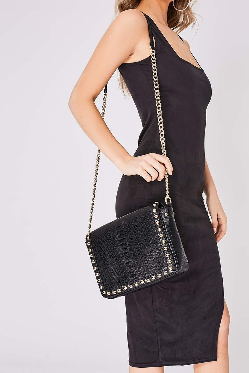 BLACK FAUX SNAKE PRINT STUDDED TRIM BAG