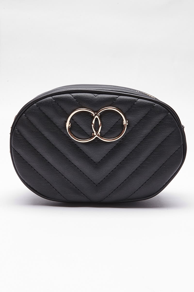 BLACK FAUX LEATHER RING DETAIL BELT BAG