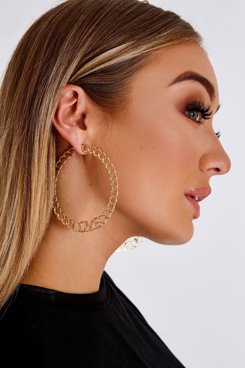 GOLD LOVE SLOGAN CHAIN HOOP EARRINGS