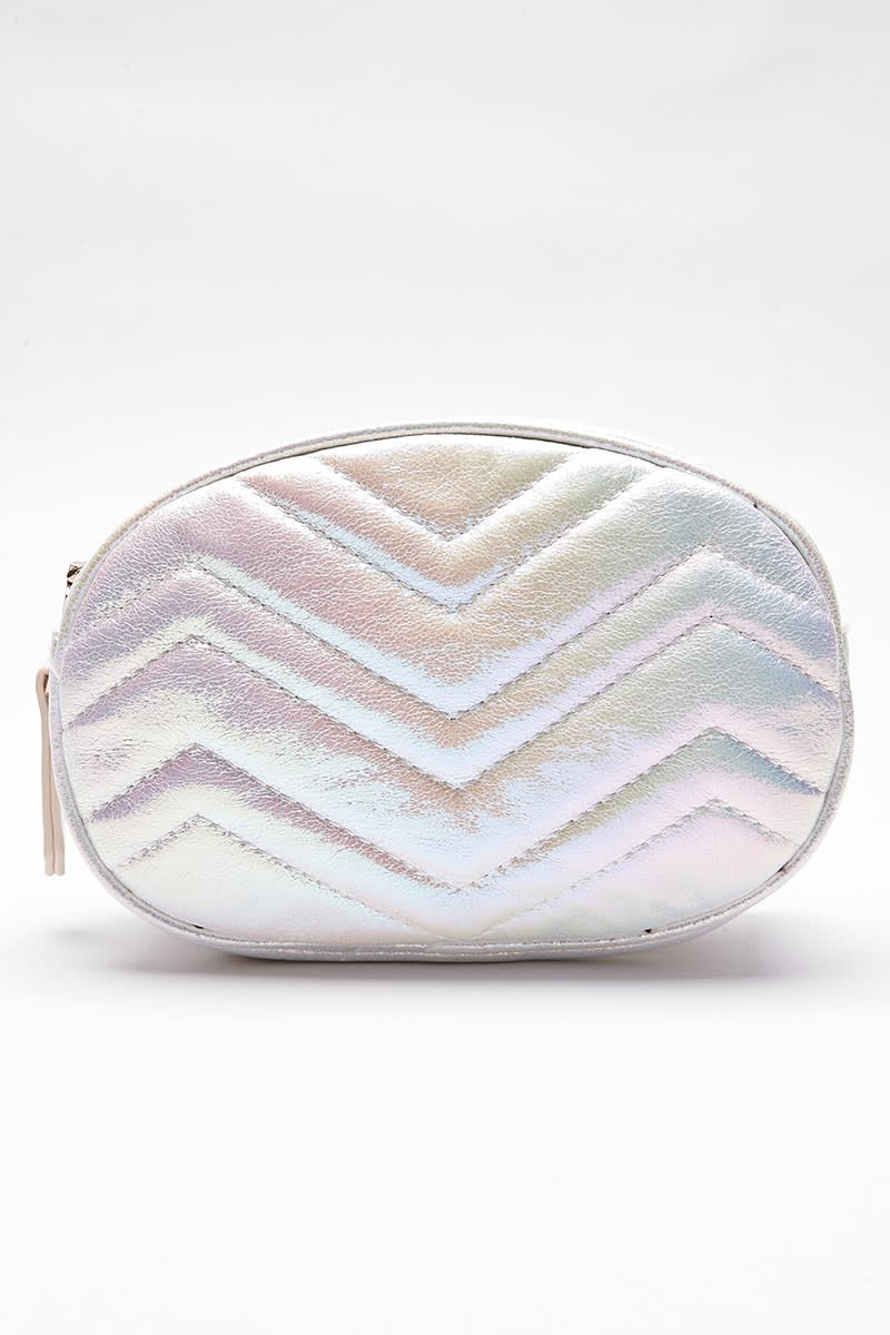 WHITE HOLOGRAPHIC BELT BAG