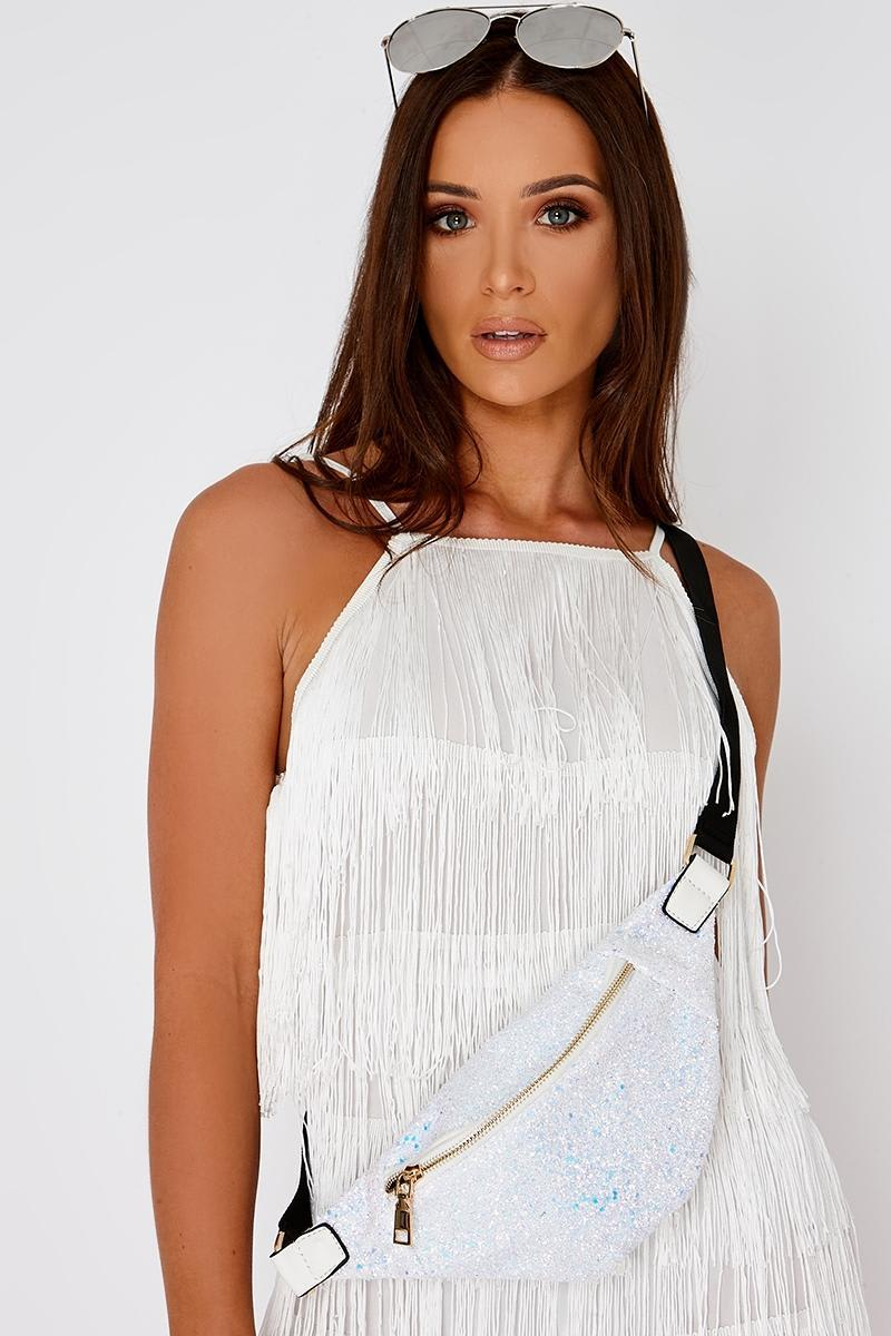 WHITE IRIDESCENT GLITTER BUM BAG