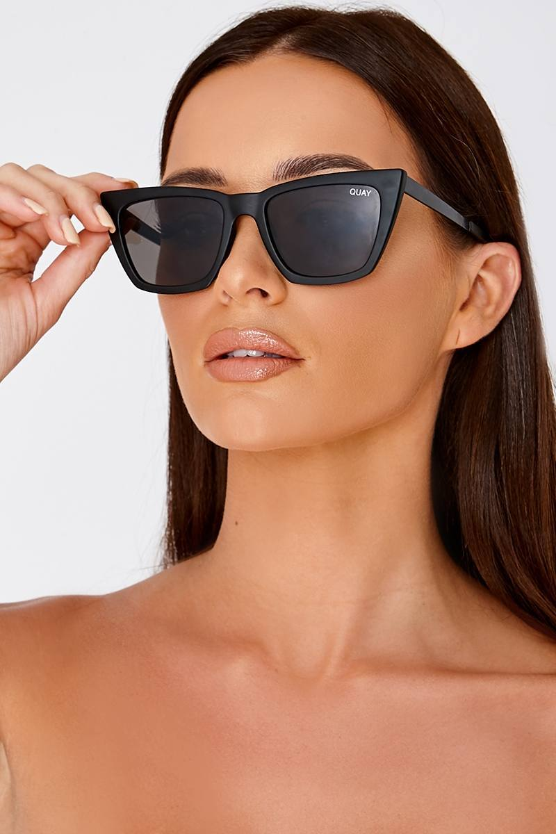 QUAY DON'T @ ME BLACK CATSEYE SUNGLASSES