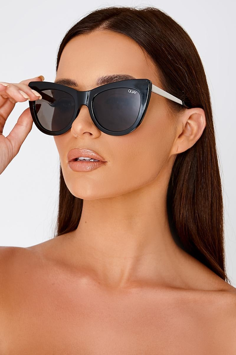 QUAY STEAL A KISS BLACK RETRO CATSEYE SUNGLASSES