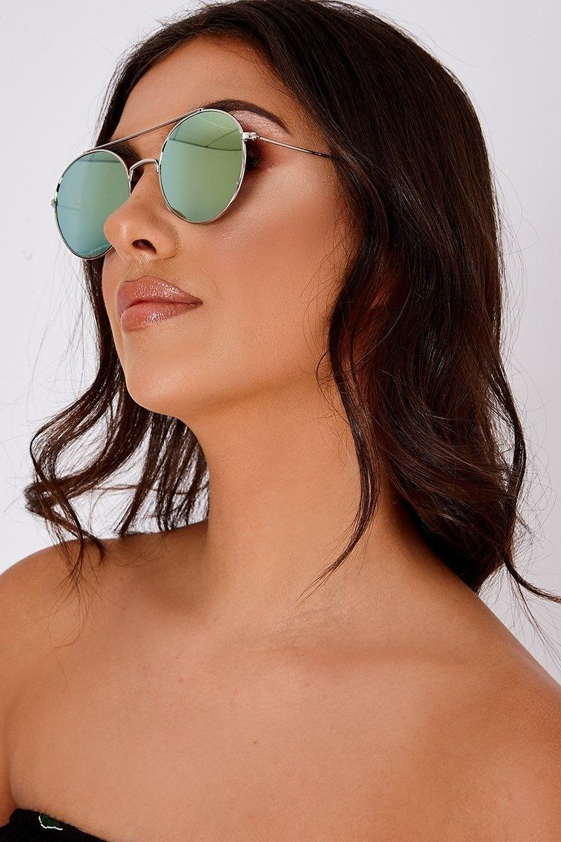 GREEN LENS RETRO SUNGLASSES
