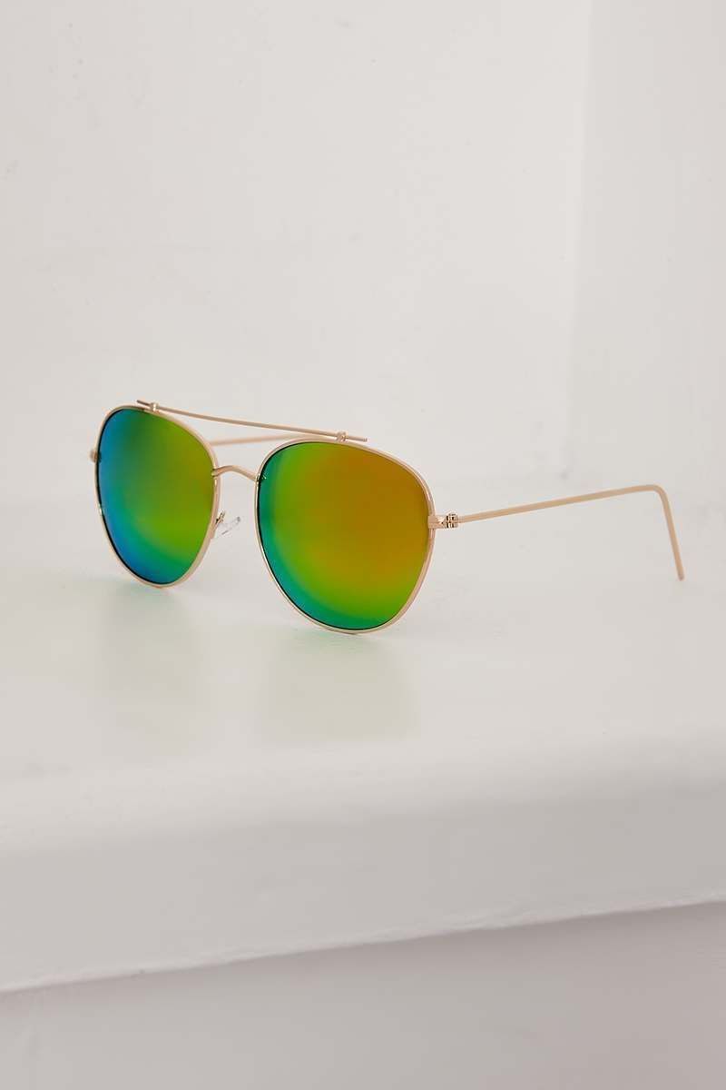 GOLD MIRRORED LENS AVIATOR SUNGLASSES