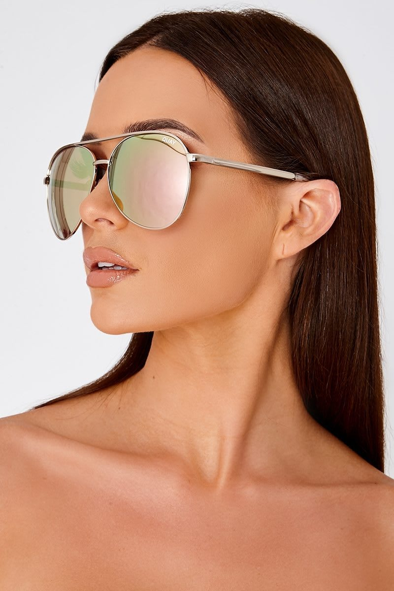 QUAY VIVIENNE ROSE GOLD OVERSIZED AVIATOR SUNGLASSES