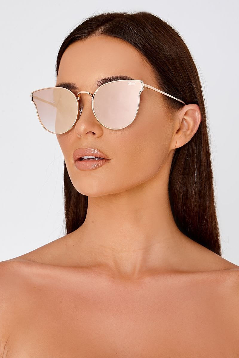 QUAY ALL MY LOVE ROSE GOLD CATSEYE SUNGLASSES