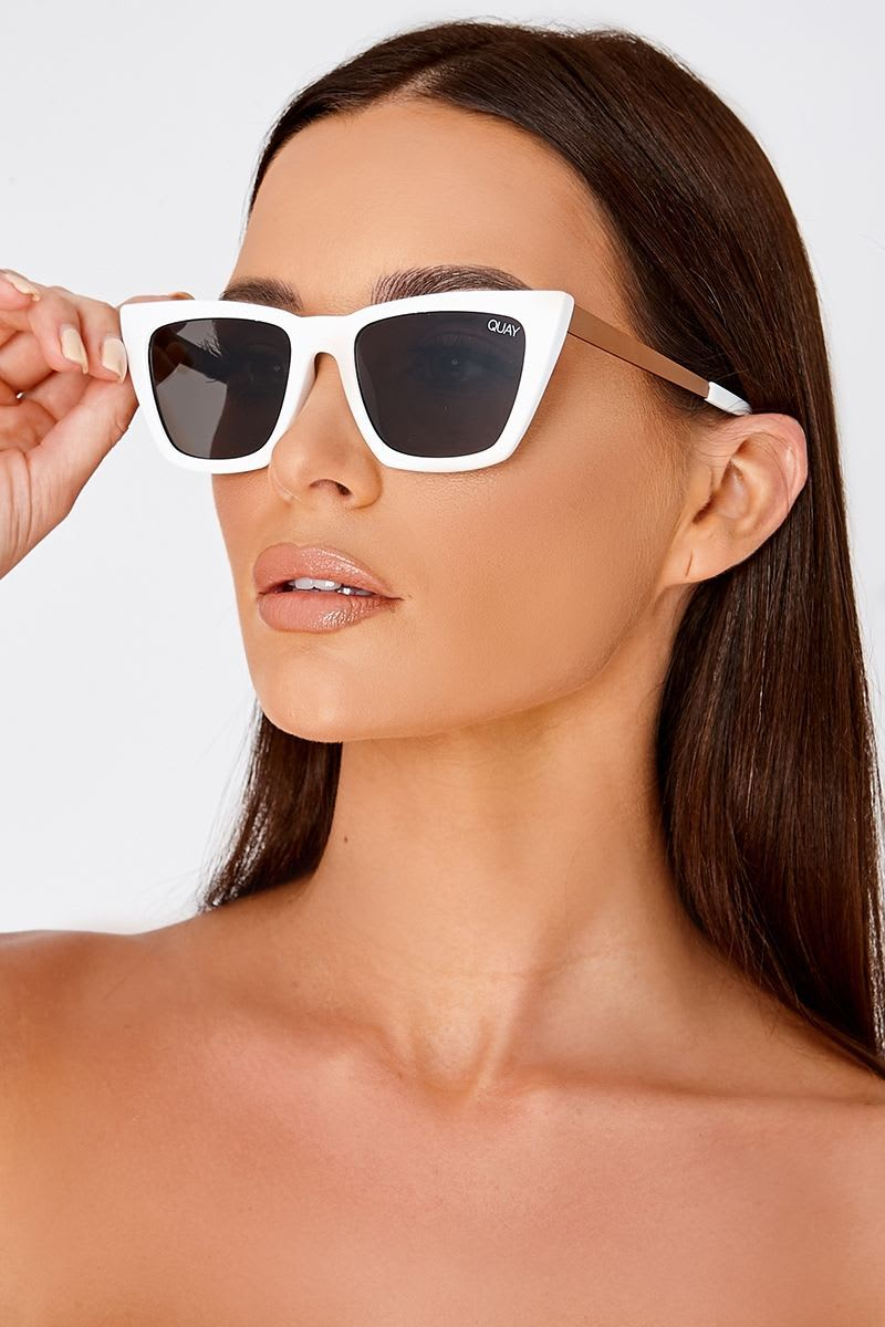 QUAY DON'T @ ME WHITE CATSEYE SUNGLASSES