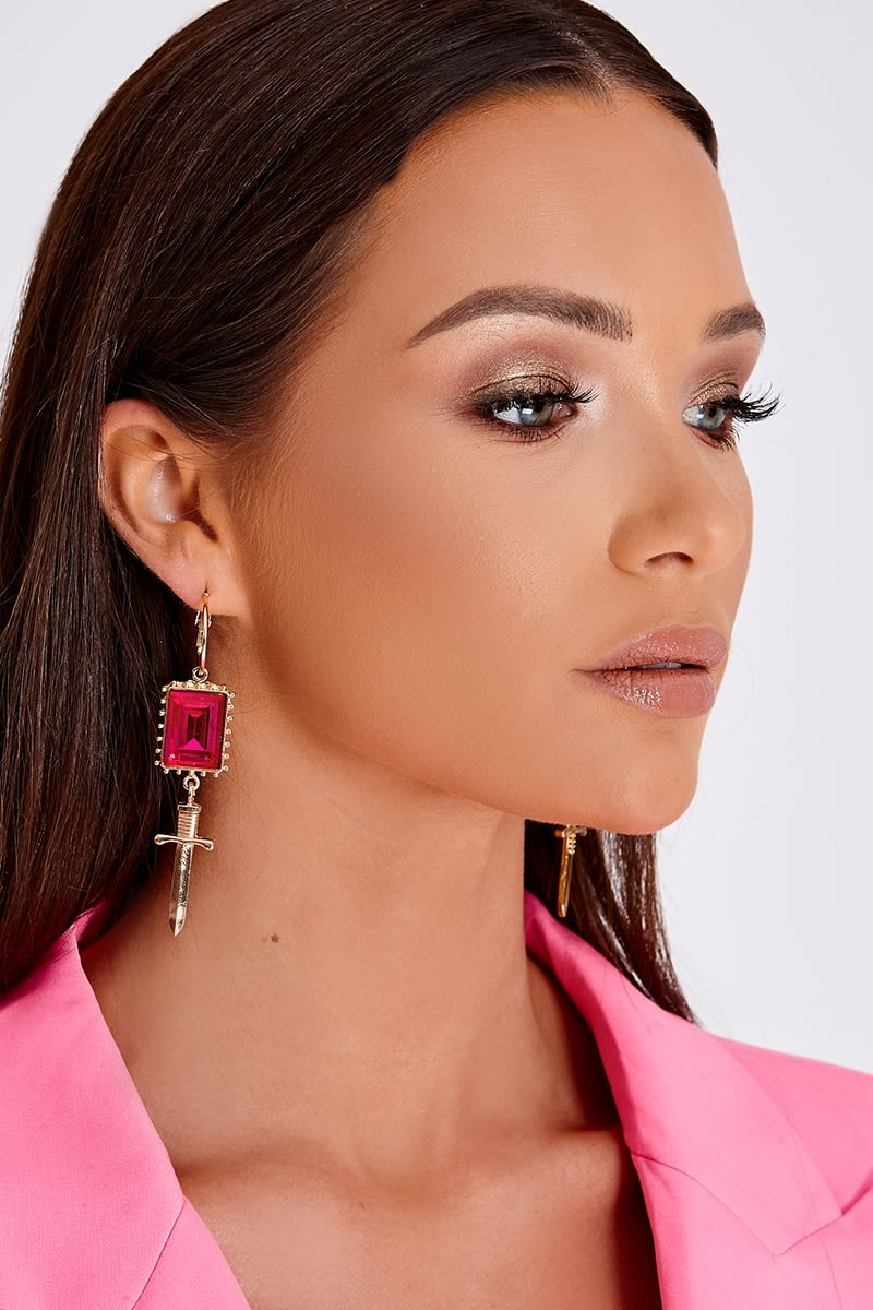PINK GEM DROP CROSS EARRINGS