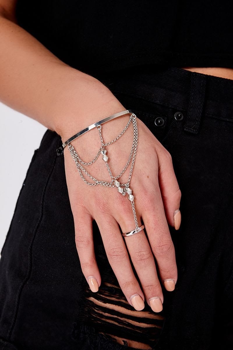 SILVER BEADED HAND CHAIN