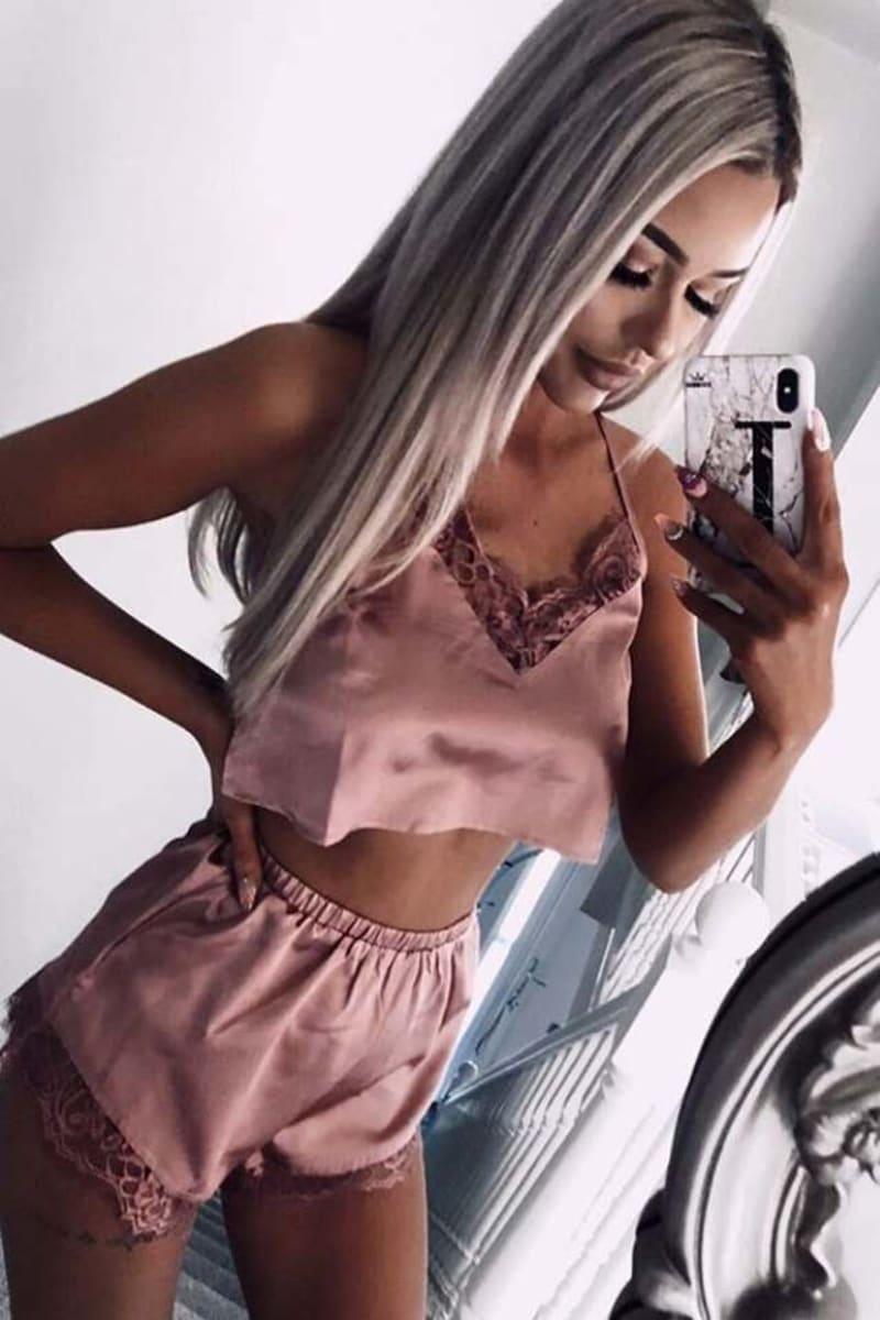 rose satin lace crop top and shorts pyjama set