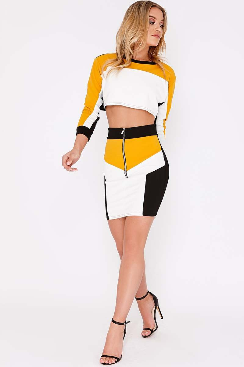 HAELY MUSTARD COLOUR BLOCK PANEL DETAIL CO ORD SET