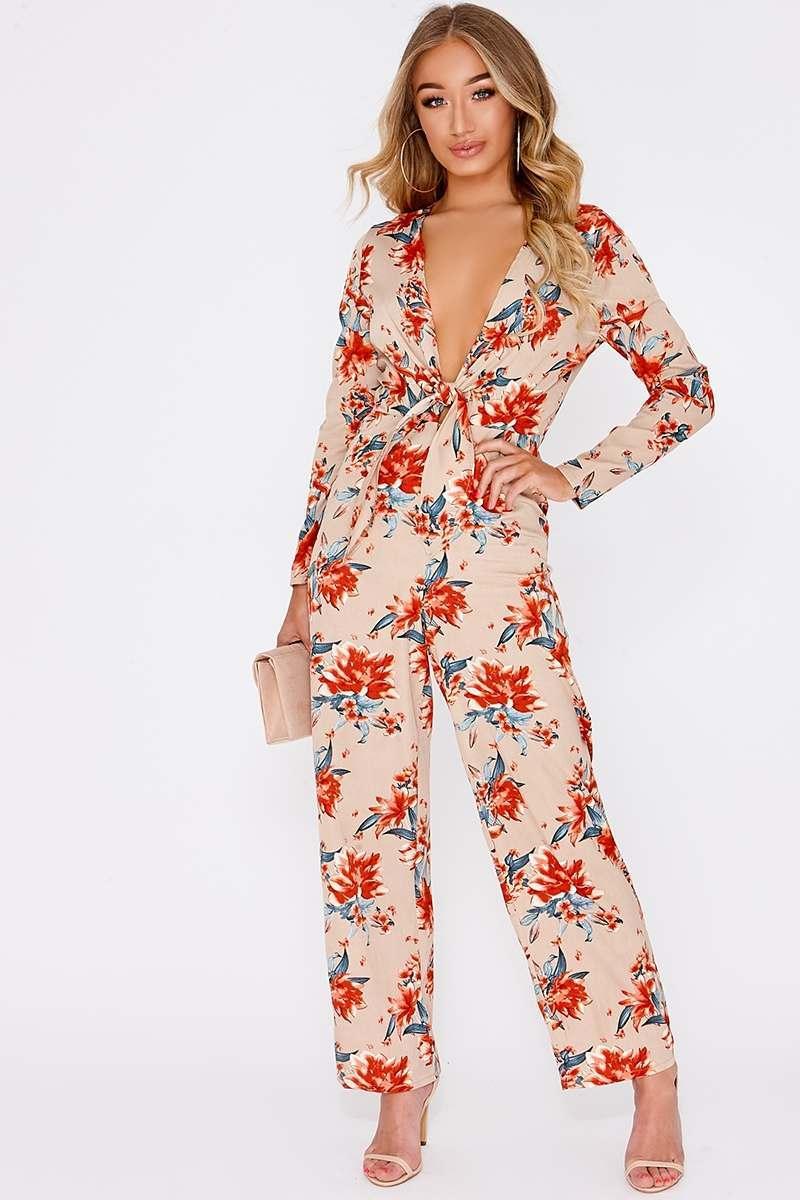 beige floral tie front plunge jumpsuit