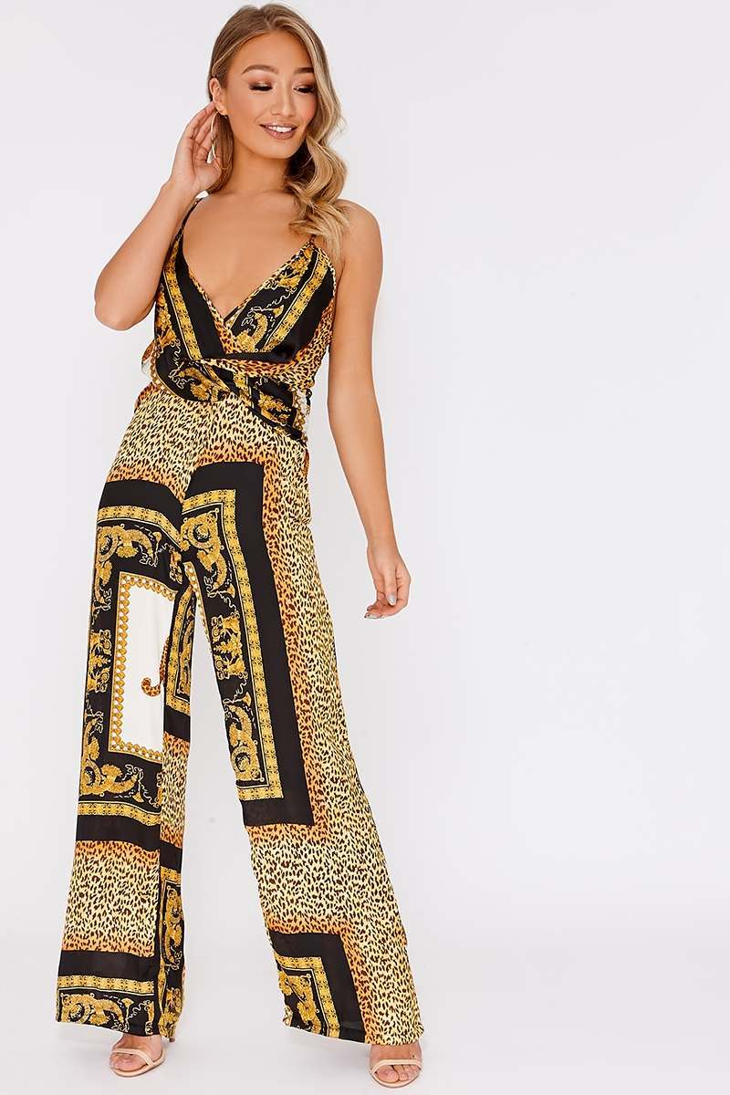 black satin chain print wrap front jumpsuit