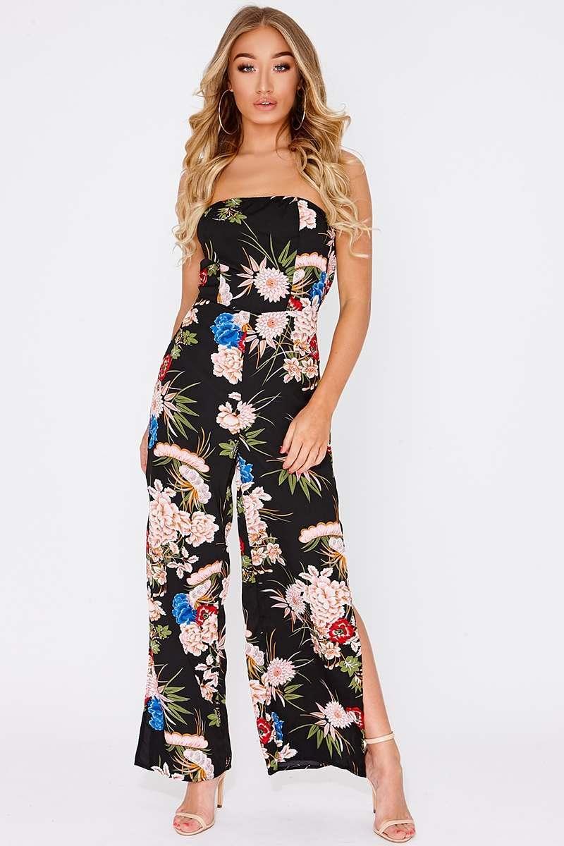 black floral bandeau jumpsuit