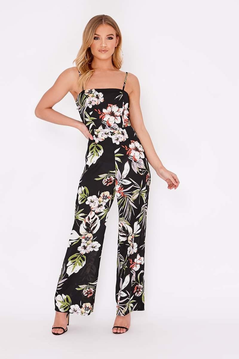 black floral tie back wide leg jumpsuit