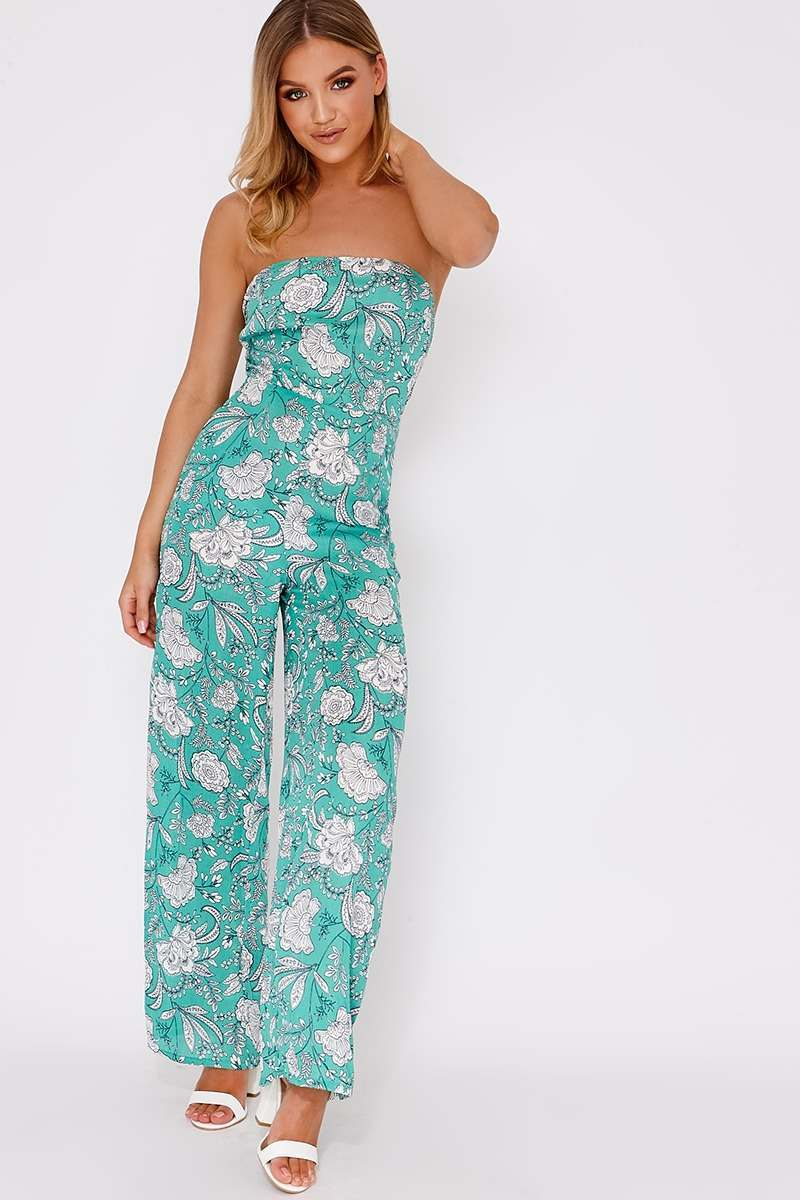 green floral tie back jumpsuit