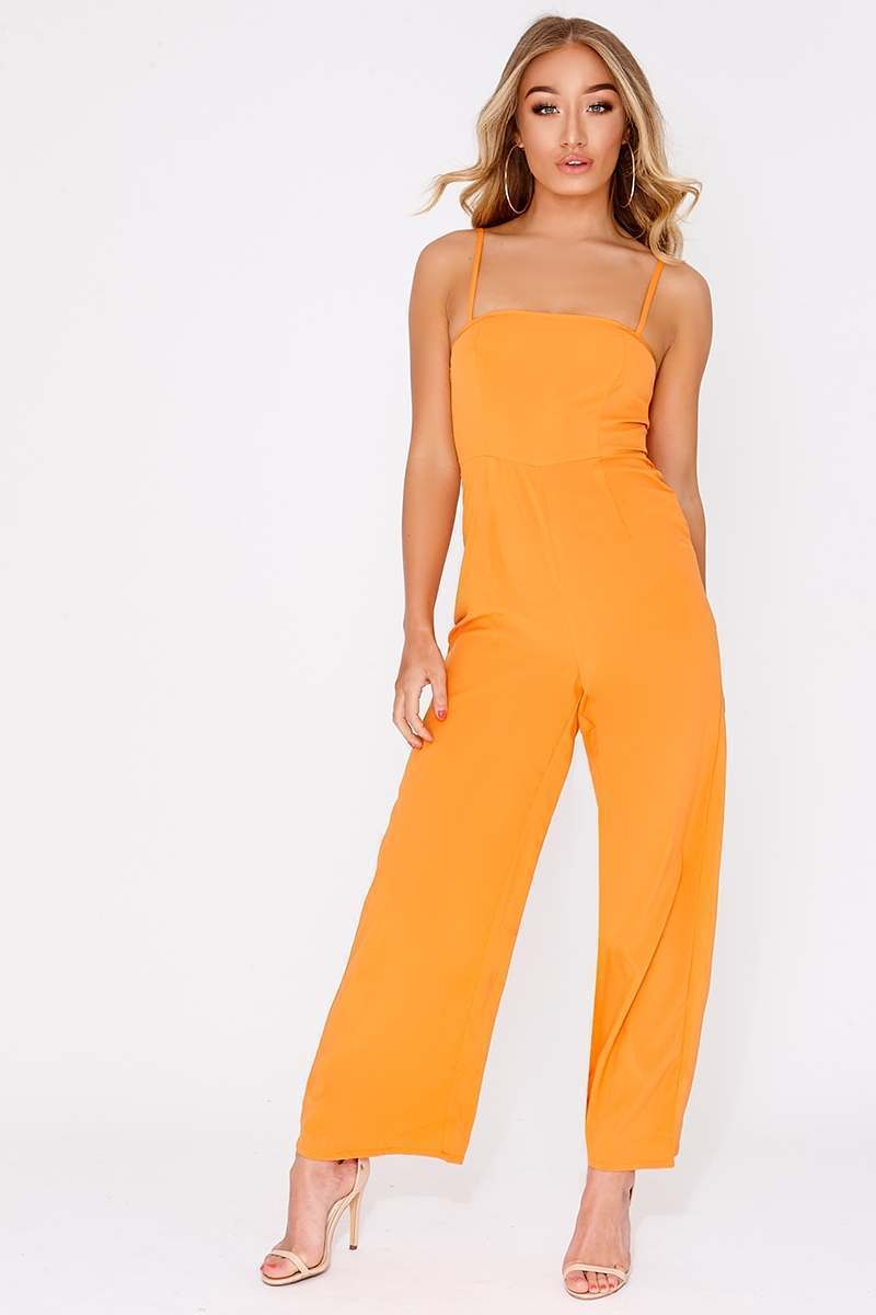 orange square neck flared leg jumpsuit