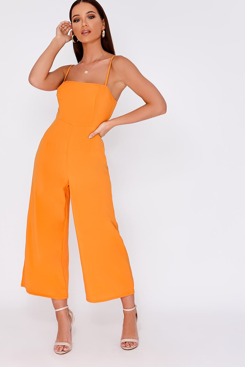 orange square neck culotte jumpsuit