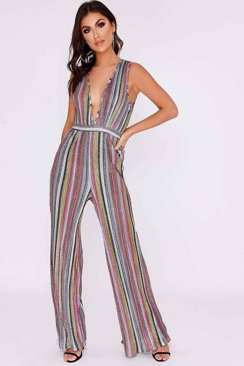 pink multi stripe glitter plunge palazzo jumpsuit