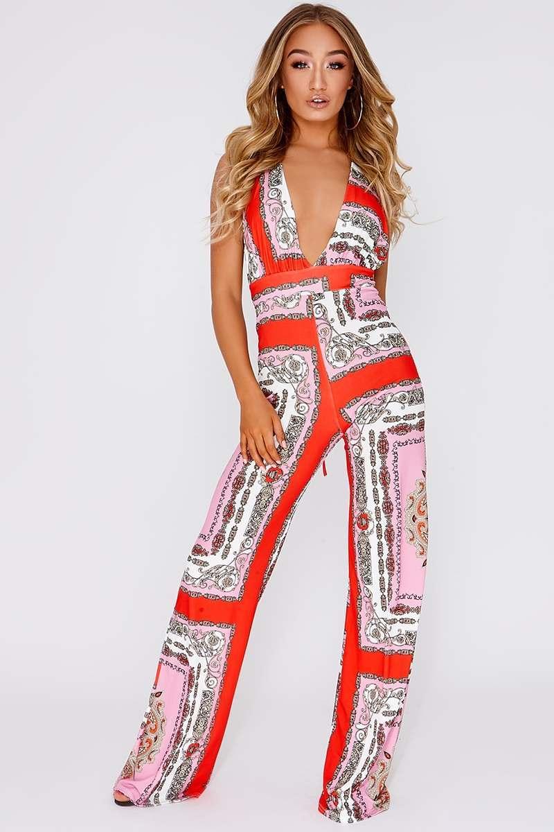 pink scarf print plunge jumpsuit