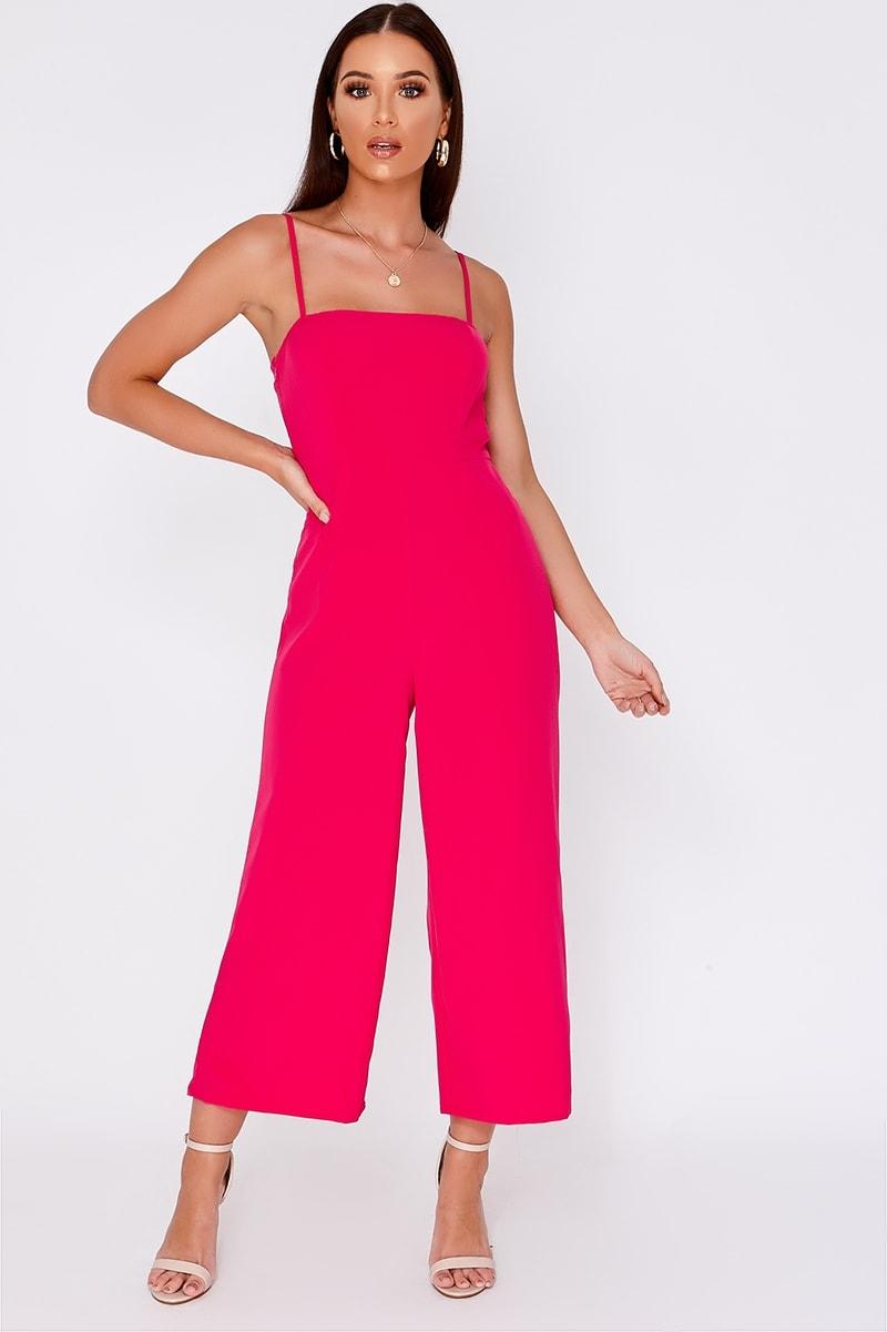 pink square neck culotte jumpsuit