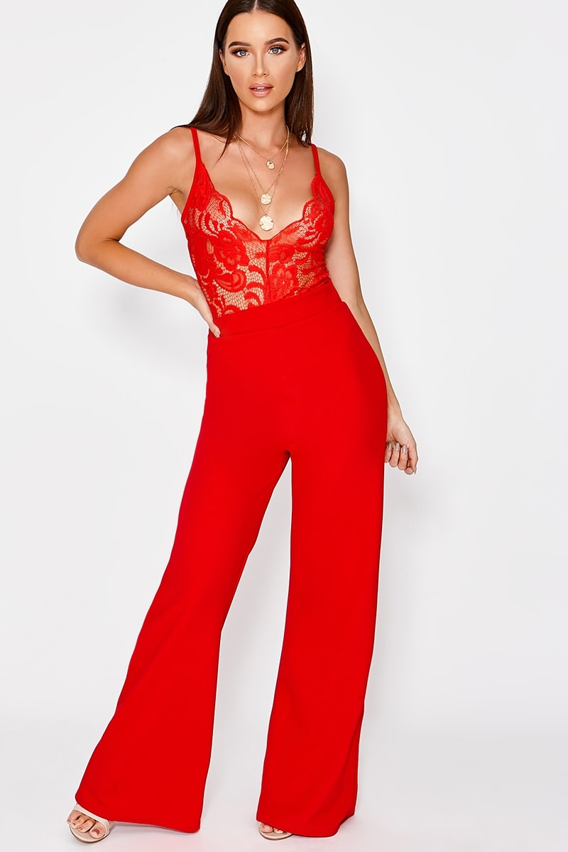ARIAL RED LACE PLUNGE JUMPSUIT