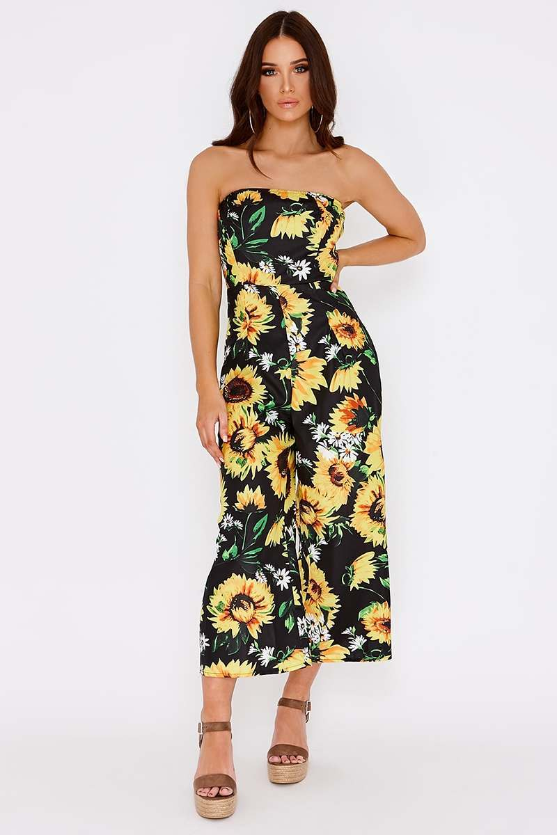 black sunflower bandeau culotte jumpsuit