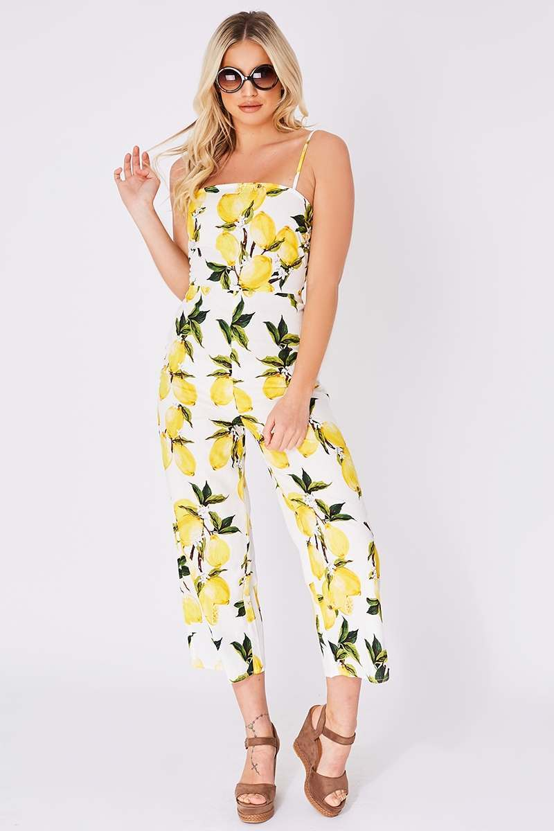 white lemon print culotte jumpsuit