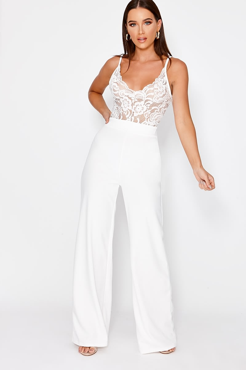 ARIAL WHITE LACE PLUNGE JUMPSUIT
