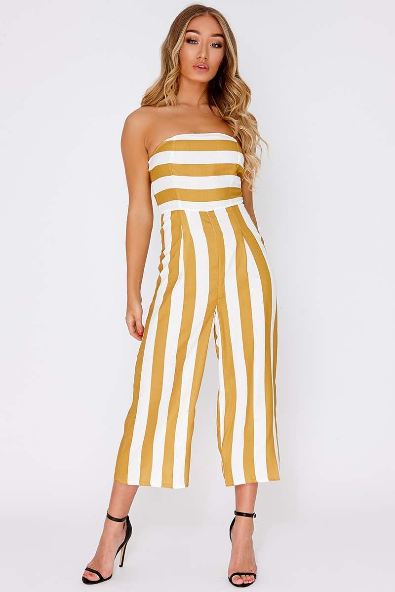 yellow stripe cropped bandeau jumpsuit
