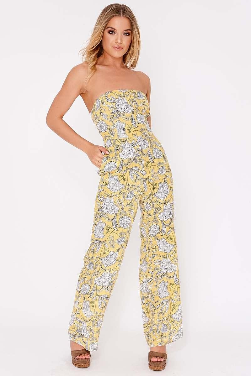 yellow floral tie back jumpsuit