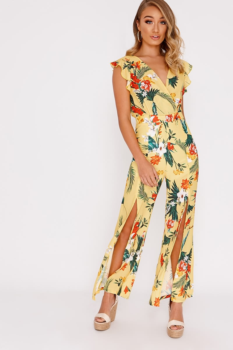 yellow floral tie back jumpsuit