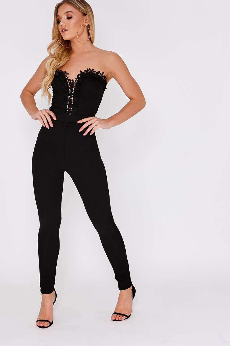 black crochet trim bandeau jumpsuit