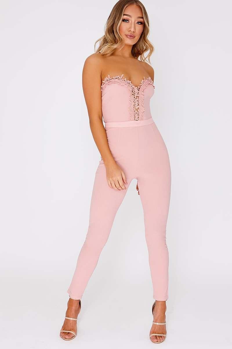 pink crochet trim bandeau jumpsuit