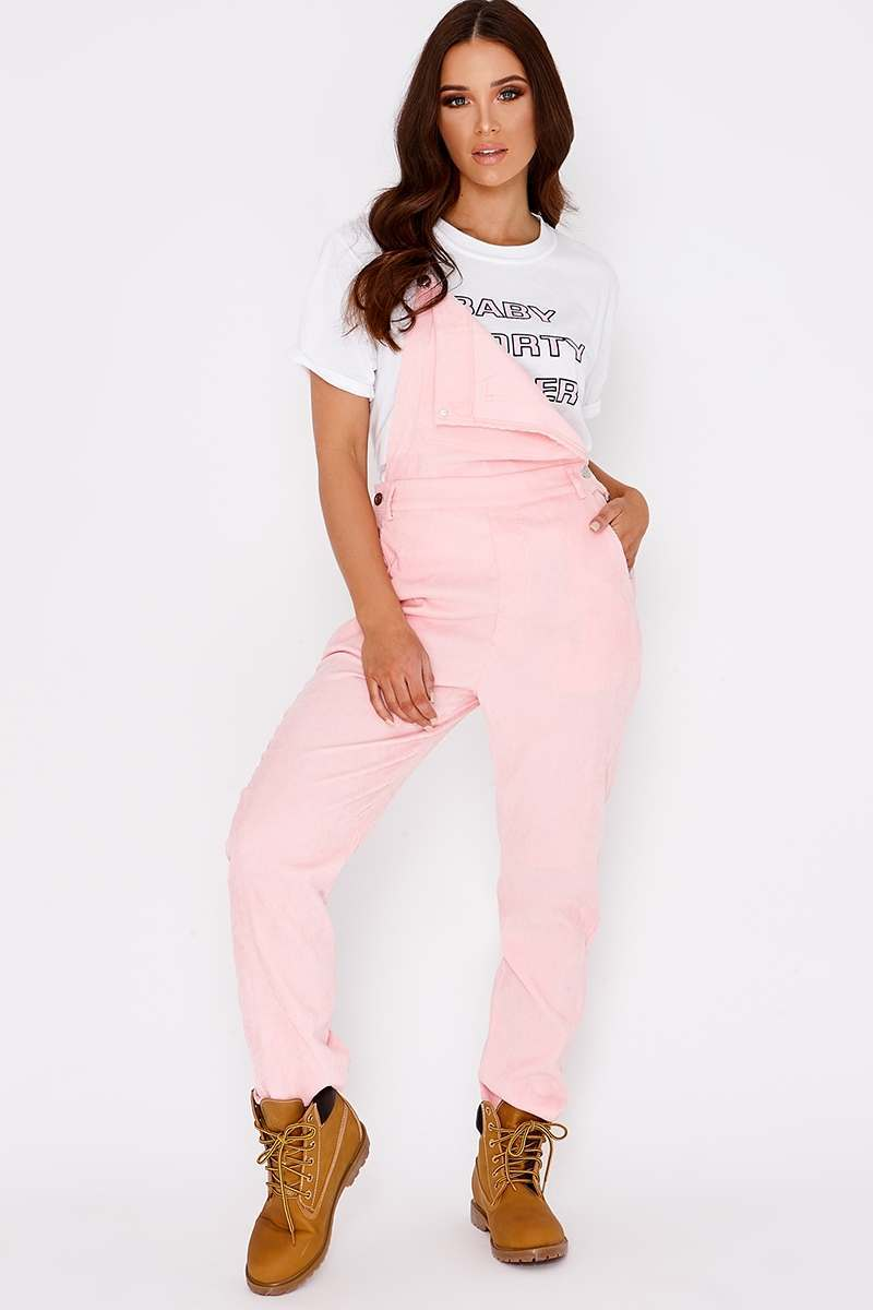pink cord cropped dungarees