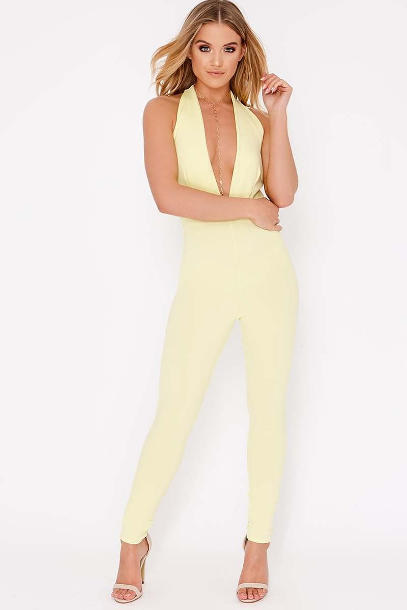 lemon halterneck plunge backless jumpsuit